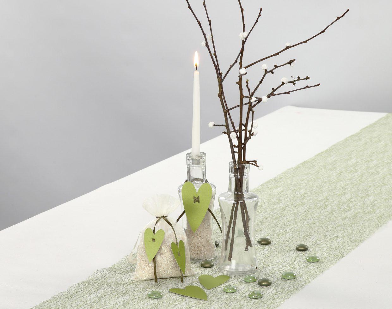 Bröllop: Dekorerade ljusstakar och rispåsar till bröllop