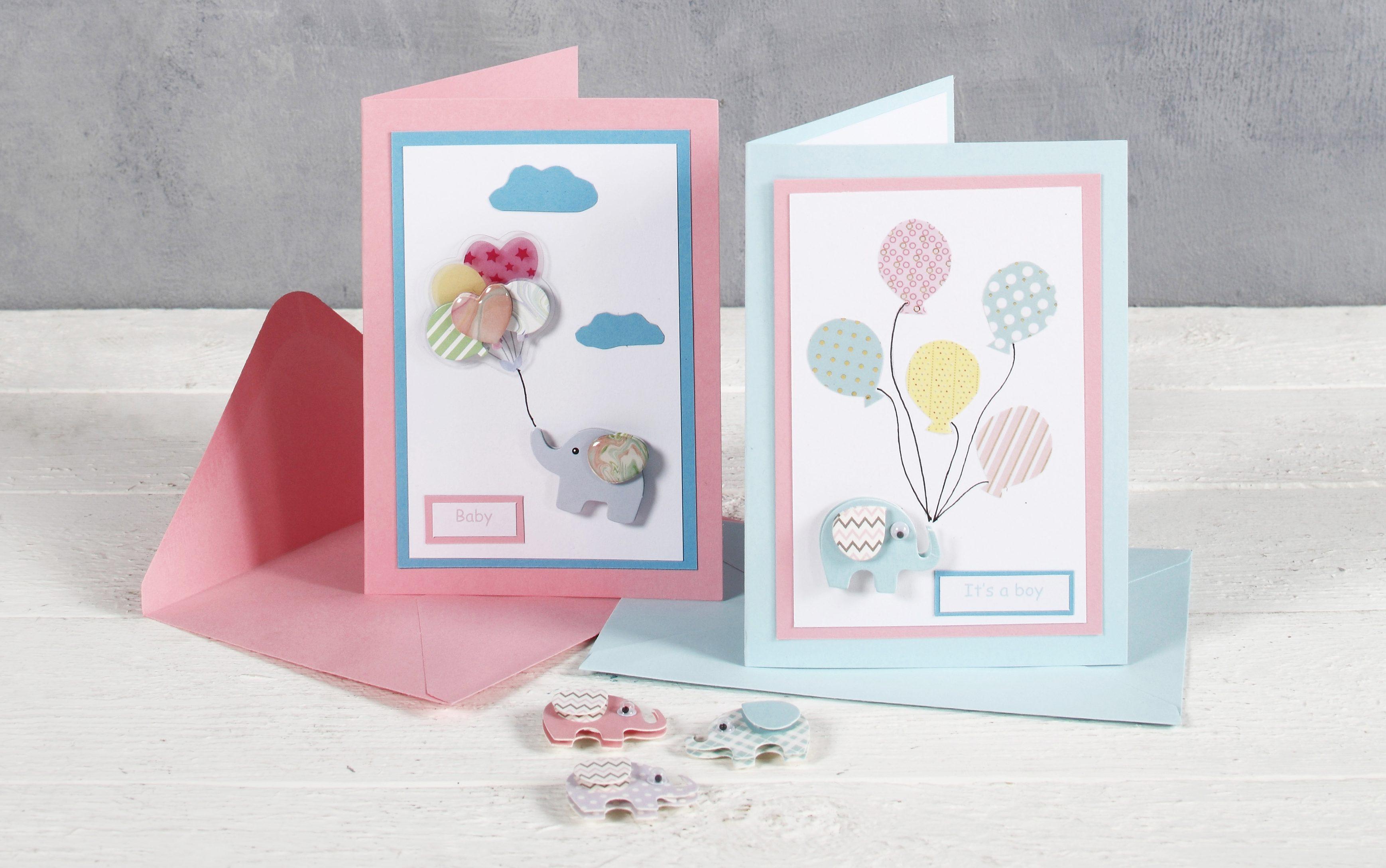 Babyshower kort med elefant och ballong