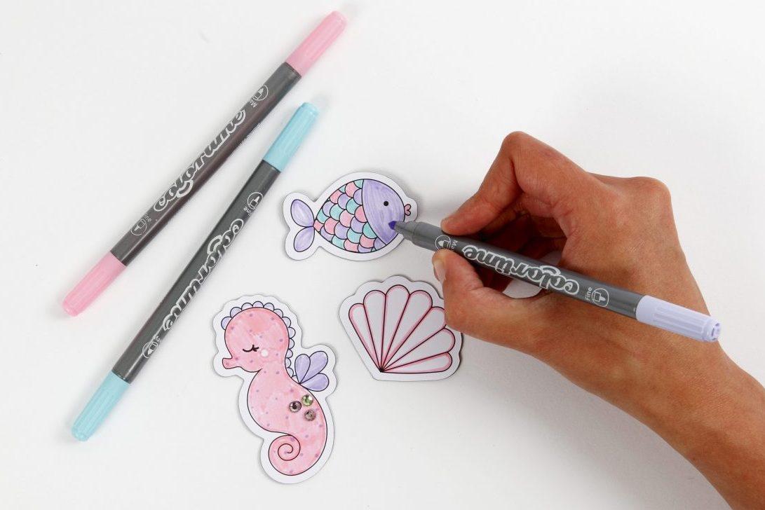 kreativa idéer till barn, dekoration av magnet, färgläggning