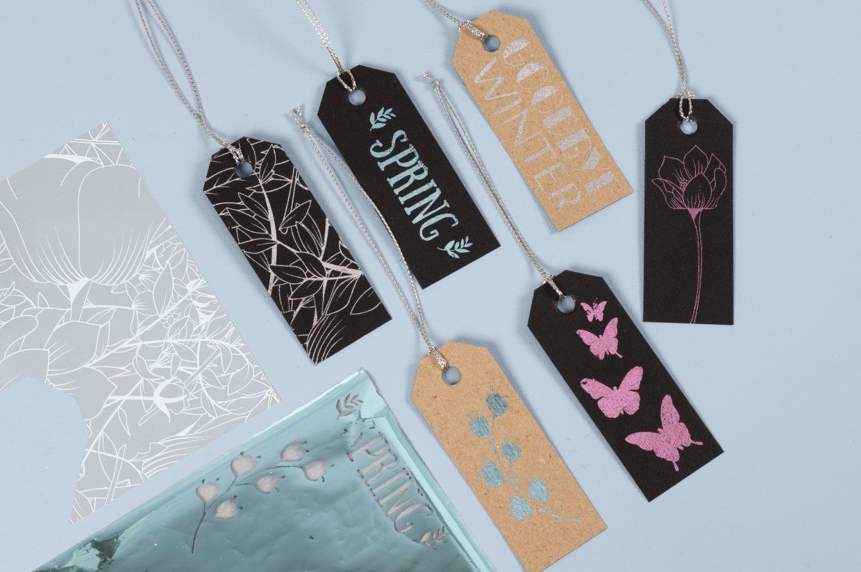 Var kreativ med folie och limark, dekorationsfolie i färger till din kreativitet med papper och kartong