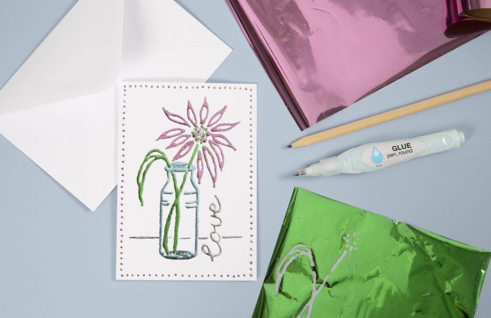 Var kreativ med folie och limpenna, dekorationsfolie till dina gör det själv kort