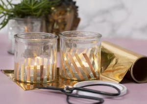 Vær kreativ med folie, dekorationsfolie i guld på lysglas til din home decor