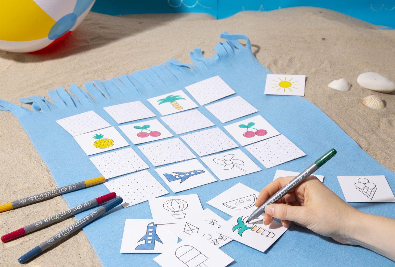 Kul och kreativ ferie med barn - gör egen memory med färgläggning