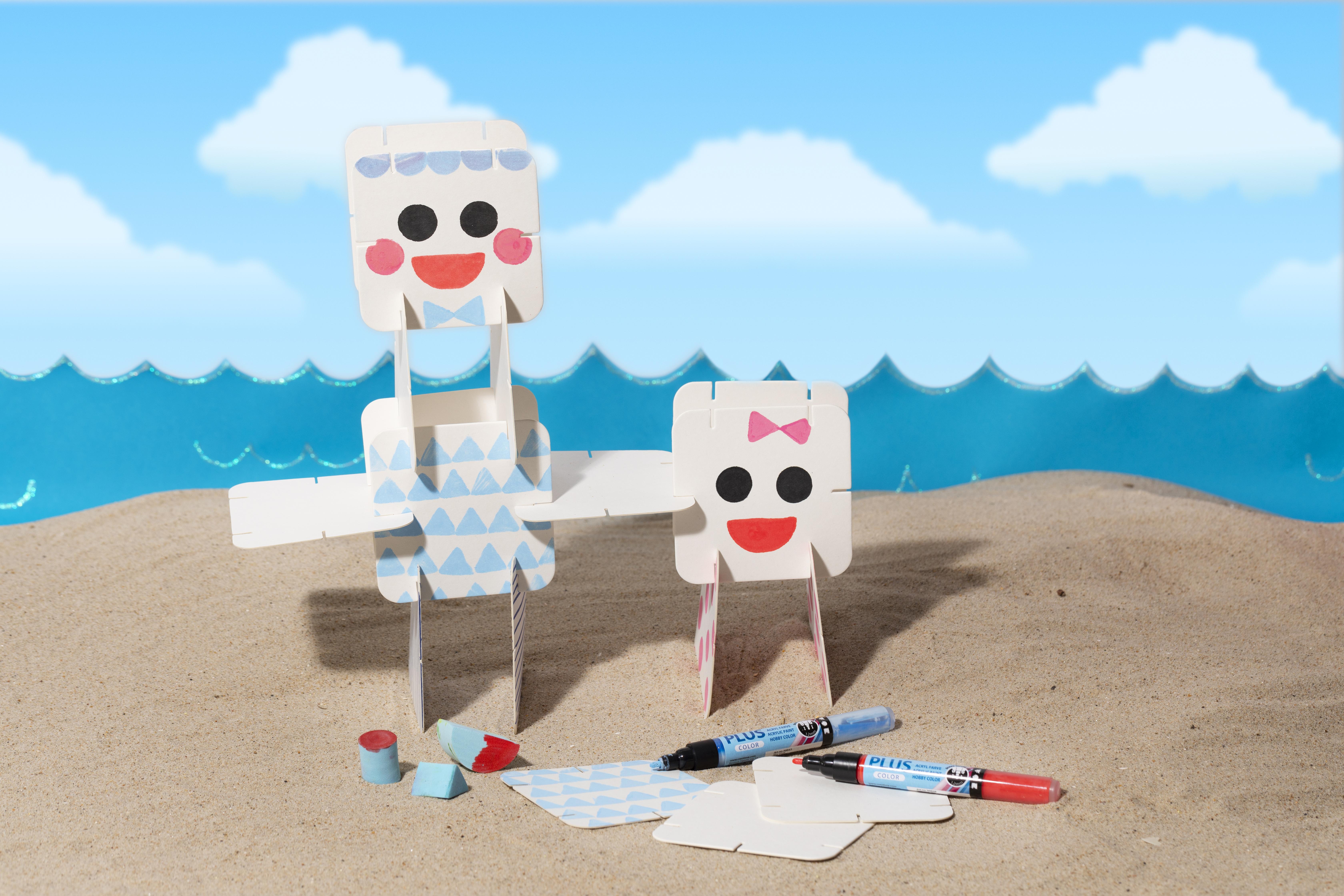 Rolig och kreativ semester med barn - gör egna figurer med dekoration av konstruktionsbrickor