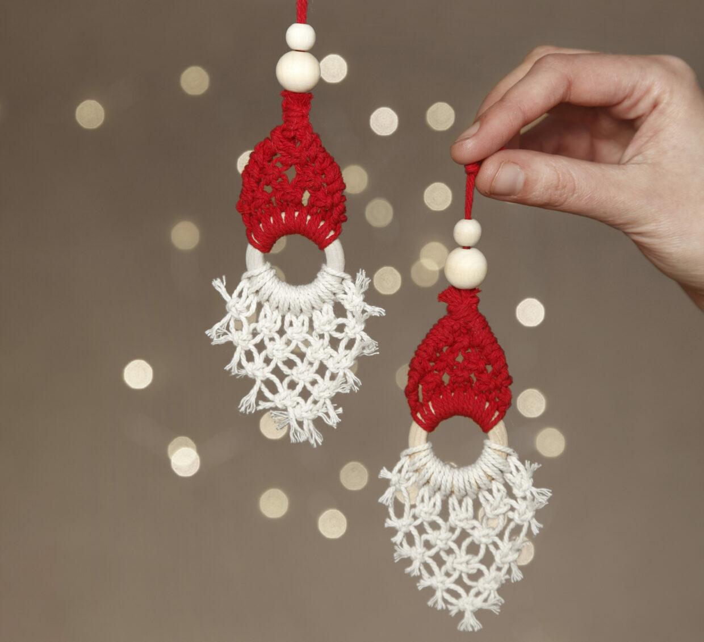 DIY jul med virkade juldekorationer, filt, nålfiltning och makramé