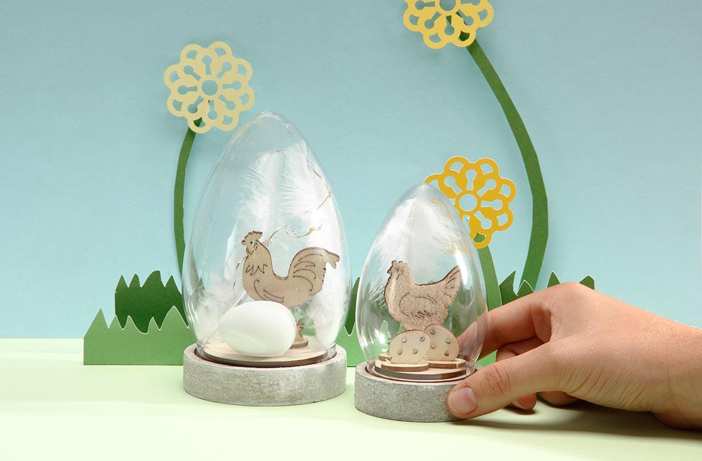 Påsk: Mini påskkupor på träfot